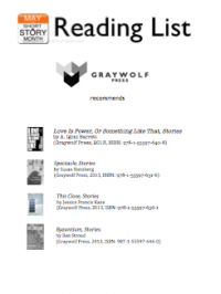 Greywolf Press Reading list